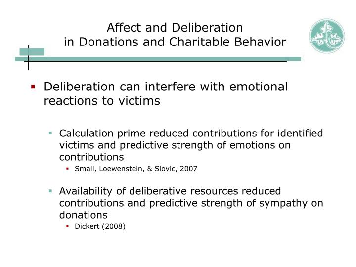 Affect and deliberation in donations and charitable behavior3