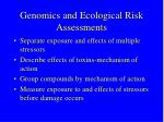 genomics and ecological risk assessments