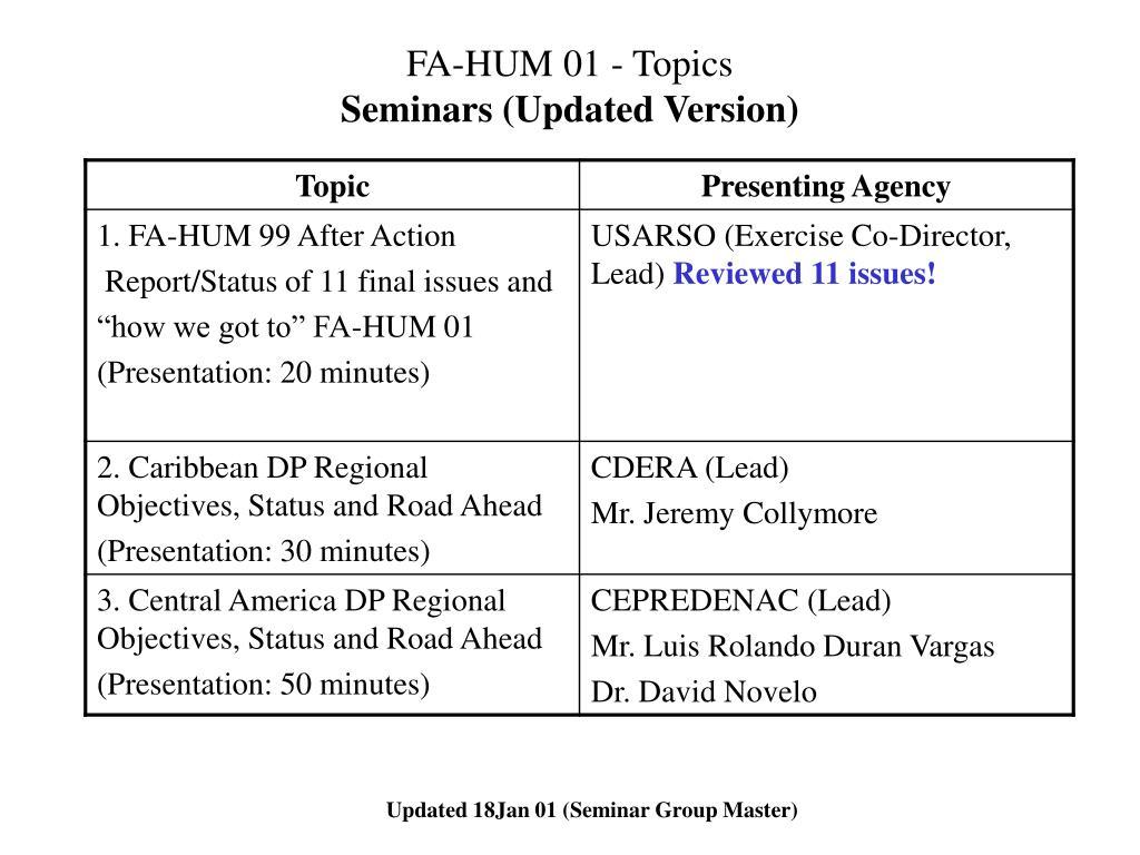 fa hum 01 topics seminars updated version l.