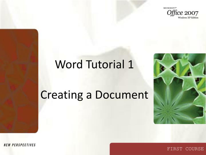word tutorial 1 creating a document n.