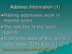 address information 1