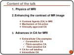 content of the talk
