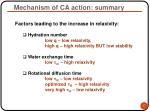 mechanism of ca action summary