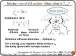 mechanism of ca action what affects t 1m