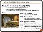 what is mri history of mri