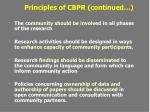 principles of cbpr continued