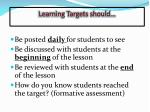 learning targets should