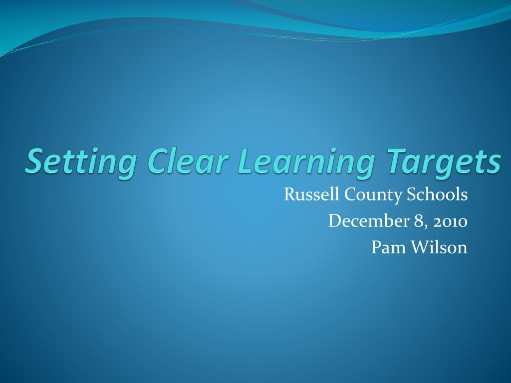 setting clear learning targets l.
