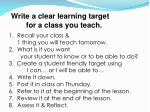 write a clear learning target for a class you teach