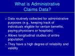 what is administrative claims data