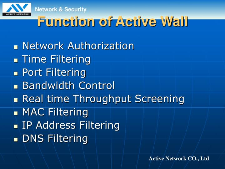 Function of active wall