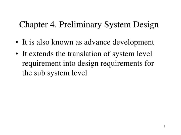 chapter 4 preliminary system design n.