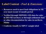 label content fuel emissions