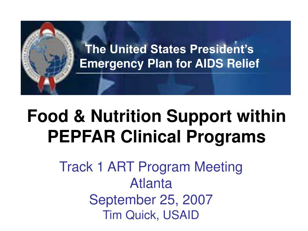 food nutrition support within pepfar clinical programs l.