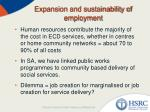 expansion and sustainability of employment