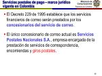 servicios postales de pago marco jur dico vigente en colombia