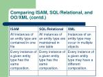 comparing isam sql relational and oo xml contd