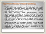 the prime minister s responsibilities