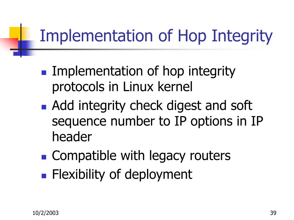 Implementation of Hop Integrity