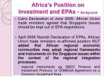africa s position on investment and epas background