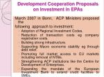 development cooperation proposals on investment in epas