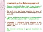 investment and the cotonou agreement