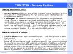 tajikistan summary findings