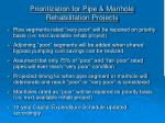 prioritization for pipe manhole rehabilitation projects