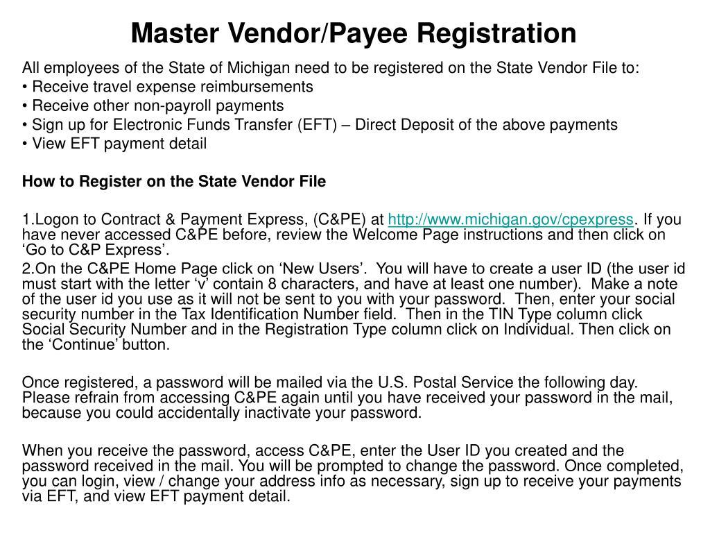 master vendor payee registration l.