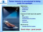 tanker industry is accustomed to being under the spotlight