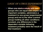 logic of a true experiment