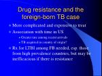 drug resistance and the foreign born tb case