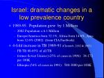 israel dramatic changes in a low prevalence country