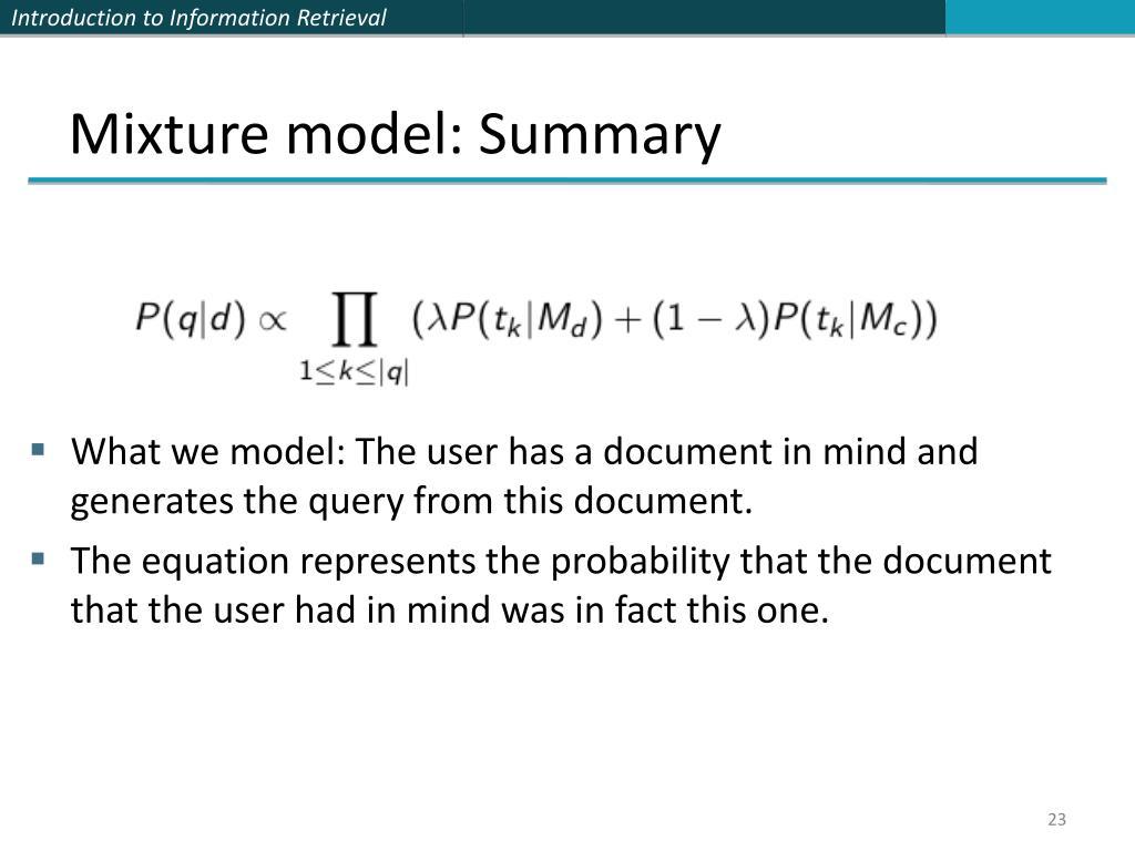 Mixture model: Summary