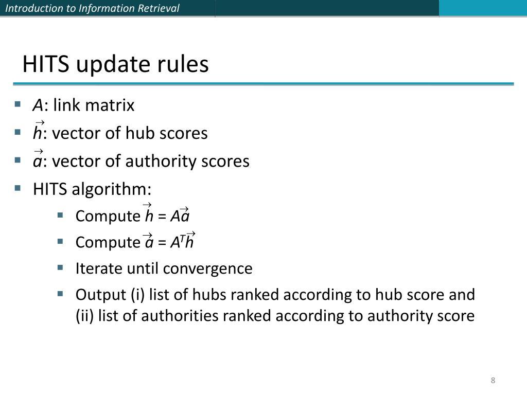 HITS update rules