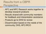 results from a cbpr perspective