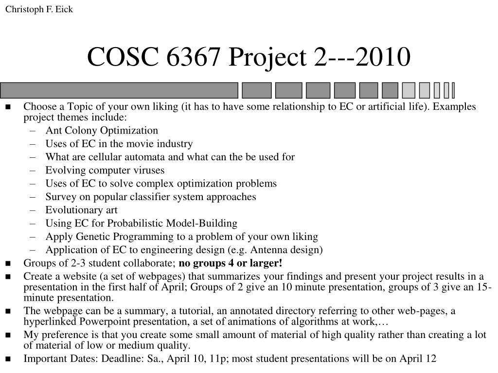 cosc 6367 project 2 2010 l.