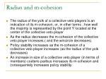 radius and m cohesion