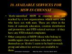 18 available services for msw in chennai