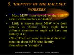 5 identity of the male sex workers