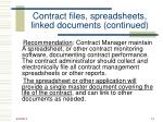 contract files spreadsheets linked documents continued