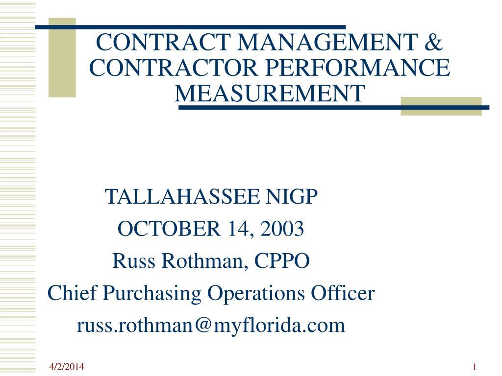 contract management contractor performance measurement l.
