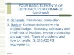 four basic elements of contract performance continued