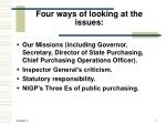 four ways of looking at the issues