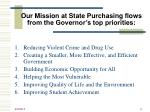 our mission at state purchasing flows from the governor s top priorities