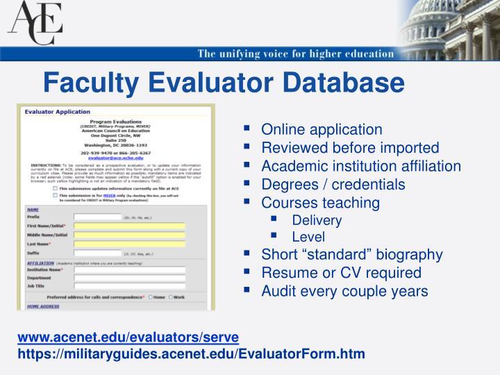 Faculty Evaluator Database