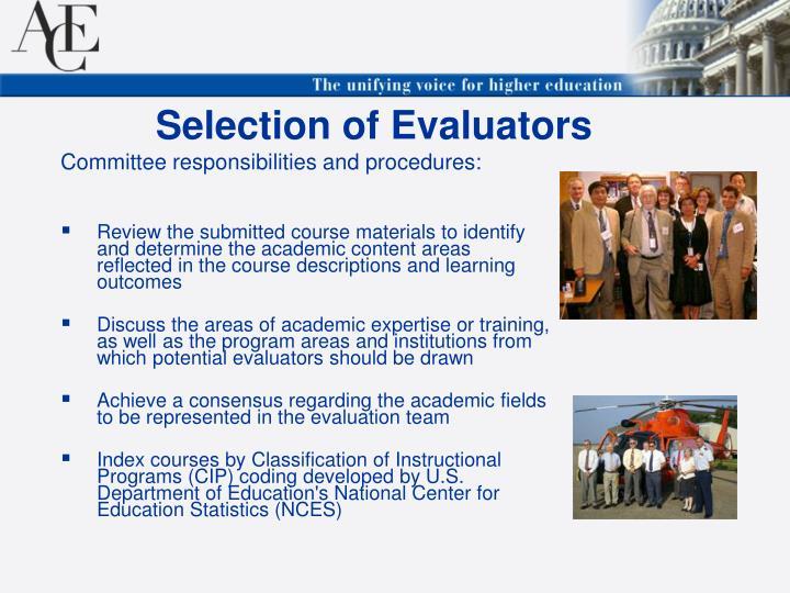 Selection of Evaluators