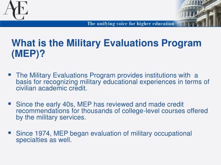 What is the military evaluations program mep