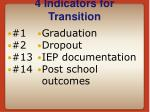 4 indicators for transition