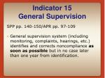 indicator 15 general supervision